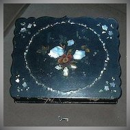 Antique Writing Slope Lap Desk Papier Mache & Inlay MOP Mother Of Pearl