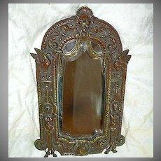 French Bronze Standing Mirror