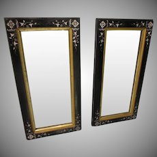 Pair Eastlake Black Carved Lacquer With Gold Framed Wall Mirrors