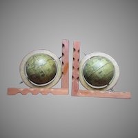Wood World Globe Pair Bookends
