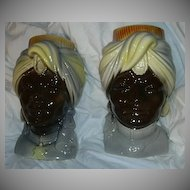 Pair Royal Copley Blackamoor Head Vase Wall Pocket Nehru Style India Design
