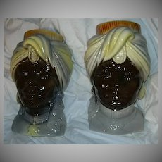 Pair Royal Copley Blackamoor Head Vase Wall Pocket Nehru Style India Design