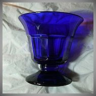 Rare Old Cobalt Glass Pedestal Bowl