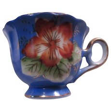 Old Japan Demitasse or Miniature Cup Blue With Flowers
