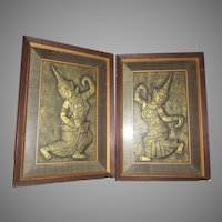 Pair Dancing Asian Framed Embossed Raised Art Figures