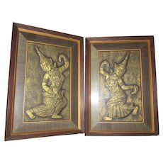 Pair Dancing Asian Framed Embossed Raised Art Figures