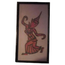 Dancing Asian Figure Art Print Rubbing Framed Oriental Lady