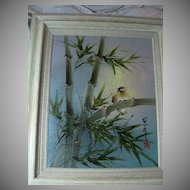 Japanese Signed Painting Bird & Bamboo Framed
