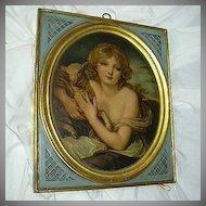 Pair Old Borghese Art Chalkware Plaques Girls Lamb & Bird