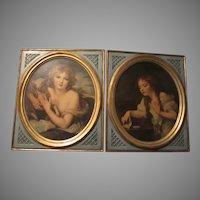 Pair Borghese Art Chalkware Plaques Girls Lamb & Bird