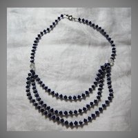 Cobalt Blue Glass Faceted Beads Choker Necklace Fine Vintage Costume Jewelry