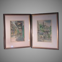 Pair J Donnels New Orleans Scenes Watercolor Paintings Art