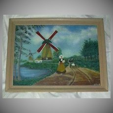 Folk Art Painting Dutch Girl & Windmill Signed