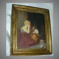 Signed Watercolor Painting Children & Bird 1877 Charlotte Oak