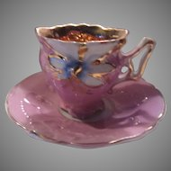 Miniature Demitasse Pink Cup Saucer Shiny Gold