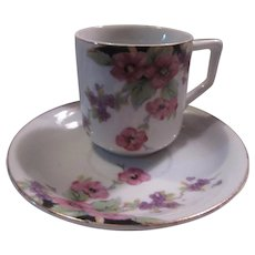 Occupied Japan Demitasse Cup Saucer Pink Violet Flowers