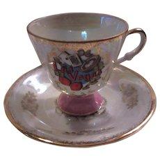 Las Vegas Demitasse Pedestal Cup Saucer Set Luster Porcelain