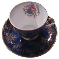 Aynsley Bone China English Cobalt Blue Demitasse Cup Saucer