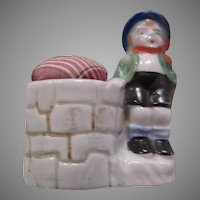 Occupied Japan Hand Painted Boy Figurine Pin Cushion