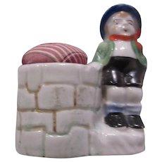 Occupied Japan Hand Painted Boy Figurine Pin Cushion