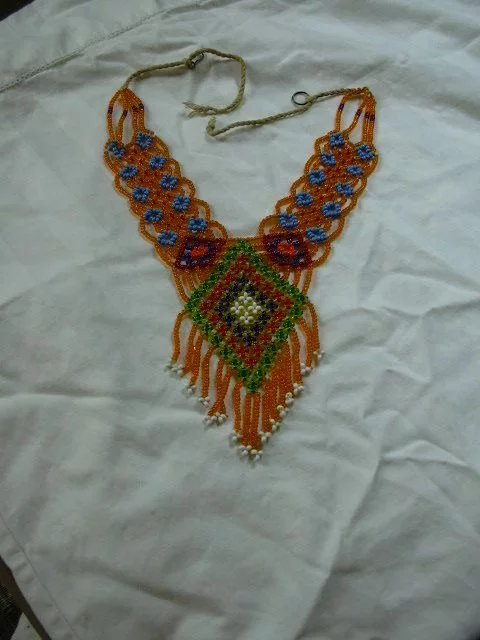 Old Hand Woven Beaded Ethnic Necklace Antiques Jewelry