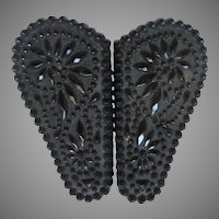 Black Glass or Carved Jet Victorian Buckle
