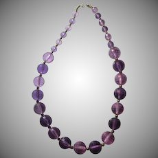 Large Violet Lucite Faceted Beads Necklace