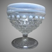 Set 8 Hobnail Glass Milk Border Sherberts Compotes