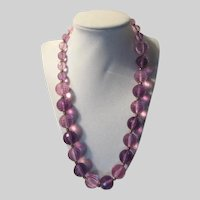 Violet Purple Faceted Lucite Graduated Beads Necklace