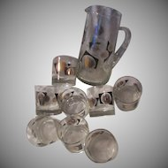 Bar Set pitcher 8 Glasses USA Coins Design