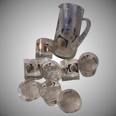 Bar Set pitcher 8 Glasses USA Coins Design