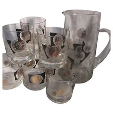 Bar Set Pitcher 8 Glasses USA Coins Design Dining Glass