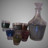 French Plaid Design Glass Cordial Shot Glass Decanter Set