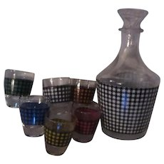 French Plaid Design Glass Cordial Shot Glass Decanter Set