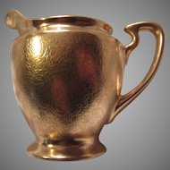 Pickard Gold Finish Floral Brocade Creamer Cream Pitcher