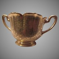 Pickard Gold Finish Floral Brocade Open Sugar Bowl