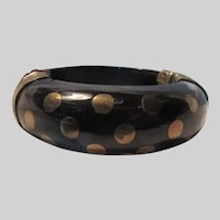Wide Wood Bracelet Brass Inlay Dots