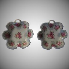 Pair Pink Roses Decorative Bowls