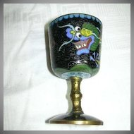Old Cloisonne Dragon Chasing Pearl Miniature Goblet Cordial