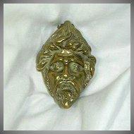 Old Brass English Door Knocker Mythical Head