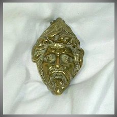 Old Brass English Door Knocker Mythical Head