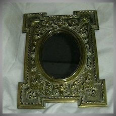 Old Brass Mirror Angels & Mythical Faces English Metalwork