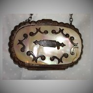 MOP Mother Of Pearl & Silver Metal Antique Coin Purse