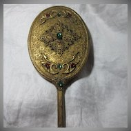 Jeweled Hand Mirror Gold Gilt & Faux Jewels