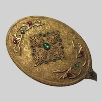 Gold Gilt Jeweled Hand Mirror Long Handle