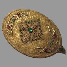 Gold Gilt Jeweled Hand Mirror Long Handle