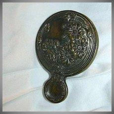 Old Brass Miniature Purse Hand Mirror Rare Vanity