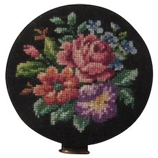 Floral Needlepoint Compact