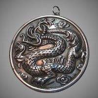 Sterling Silver Small Pocket Mirror Reed Barton Oriental Asian Dragons
