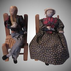 Rustic Country Style Dolls Figures Couple Table and Chairs